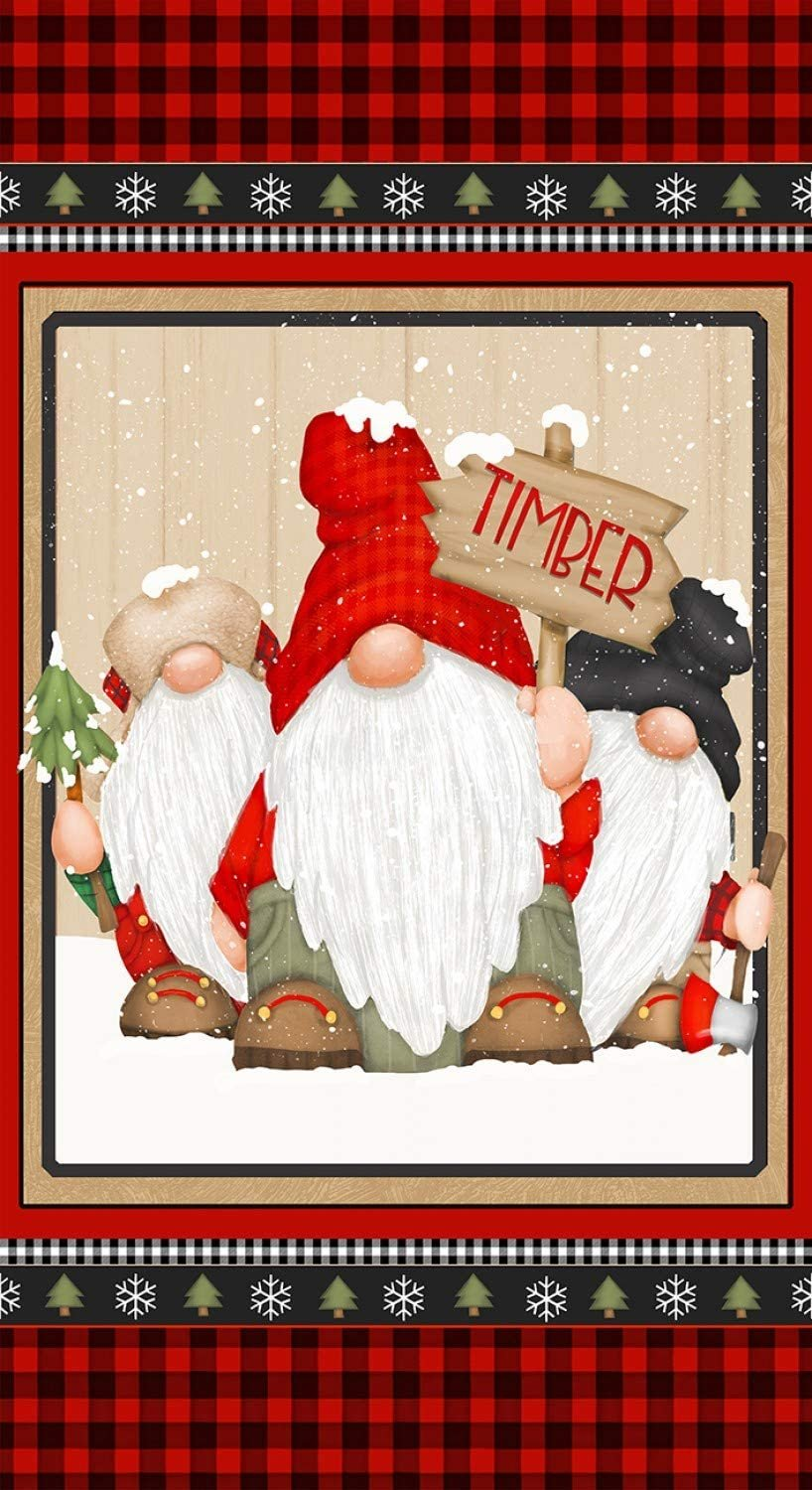 Timber Gnomies for Henry Glass by Shelly Comiskey - Gnome Panel Red/Black