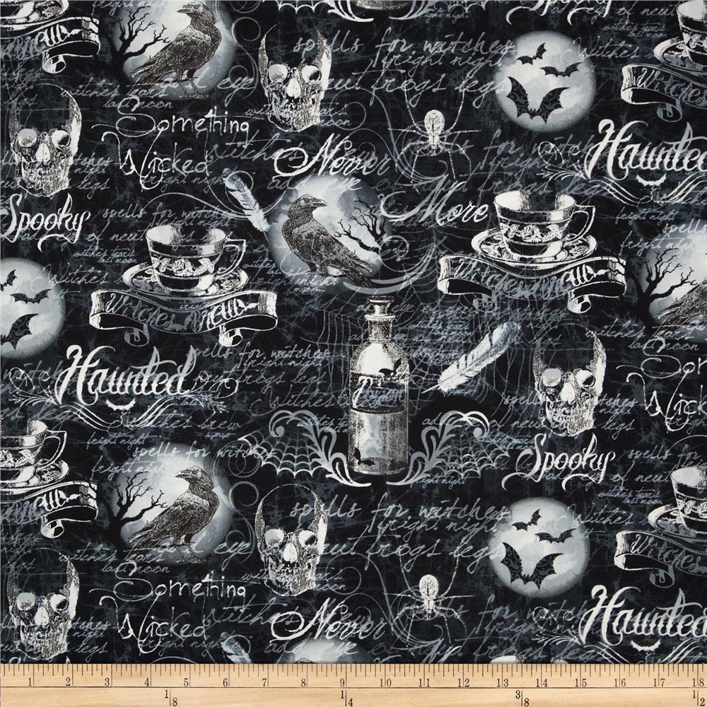 Timeless Treasures Hocus Pocus Spooky Black