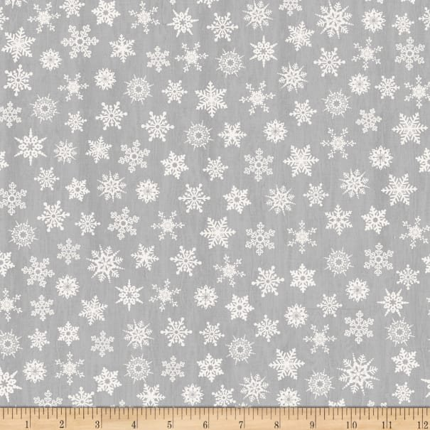 Timeless Treasures, Holiday Gnomes Grey Tossed Snowflakes