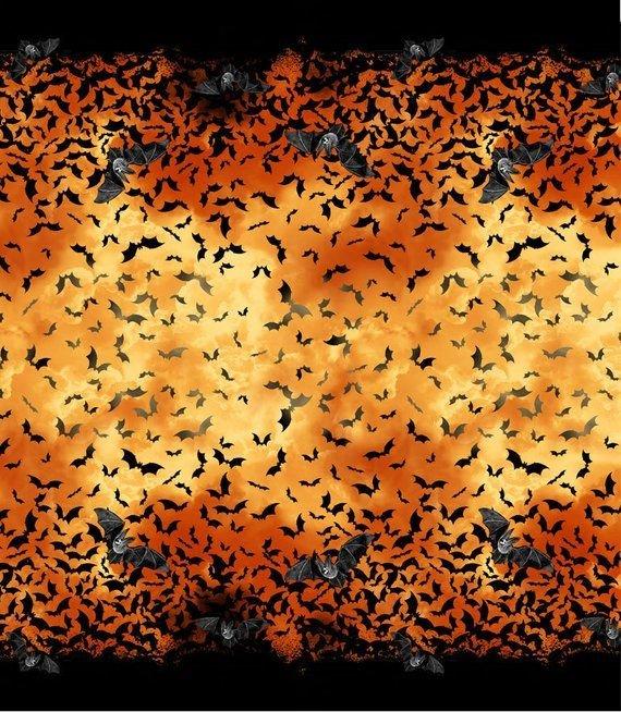 Timeless Treasures Wicked Hot Bats Orange