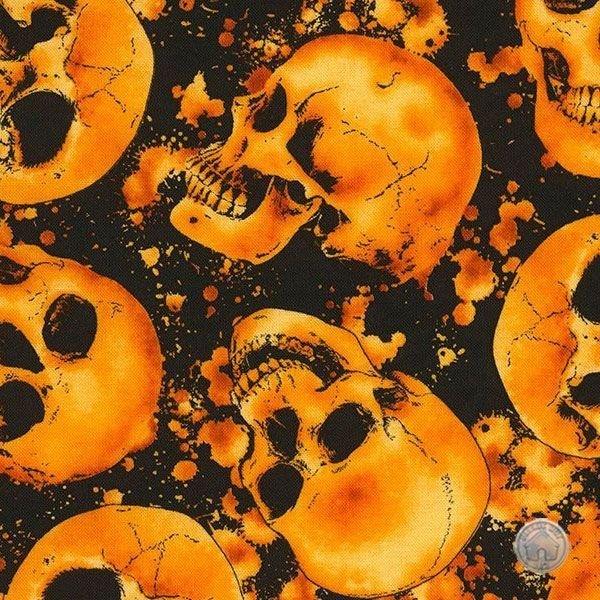Timeless Treasures Wicked Hot Skulls Orange