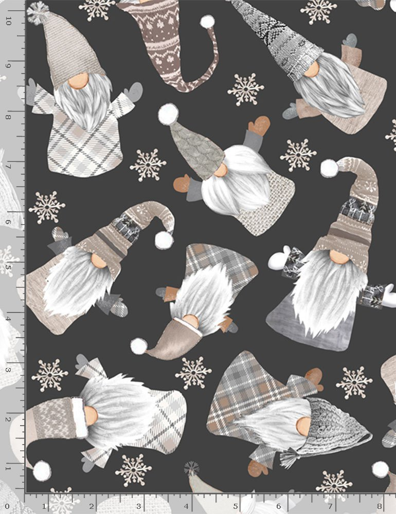 Timeless Treasures, Holiday Gnomes Black - Tossed