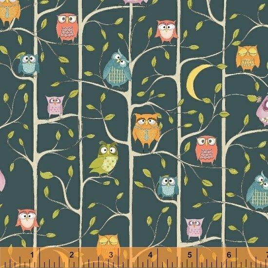 WINDHAM FABRICS, Whoo's Hoo - Tree Owls Teal