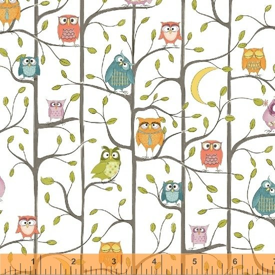 WINDHAM FABRICS, Whoo's Hoo - Tree Owls White