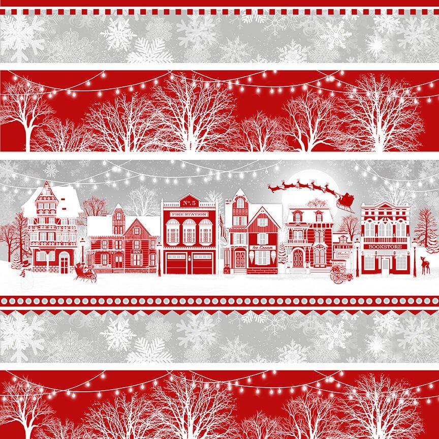 Henry Glass, Holiday Lane -  Village Novelty Stripe