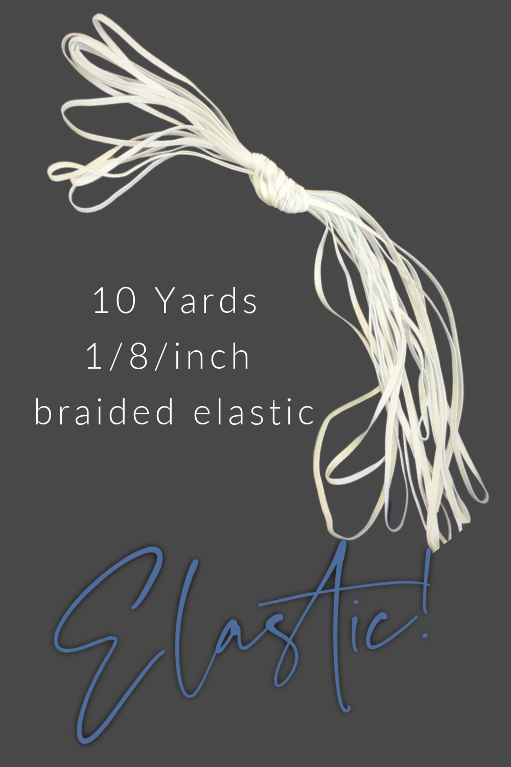 1/8/inch Braided Elastic WHITE- 10 yards