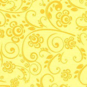 108 Wide Back Overtones Floral Swirl Yellow