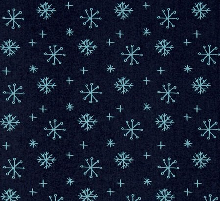 25 Days of Christmas Navy with Aqua Snowflakes