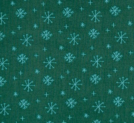 25 Days of Christmas Green with Aqua Snowflakes
