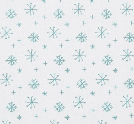 25 Days of Christmas White with Aqua Snowflakes