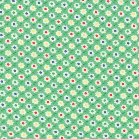 30's Playtime Favorites Circle Flowers Betty's Green