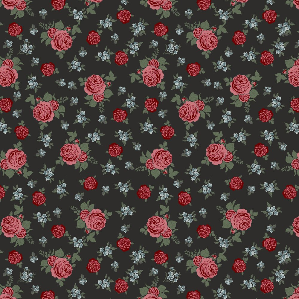 Bella Rosa Black with Red and Blue Roses