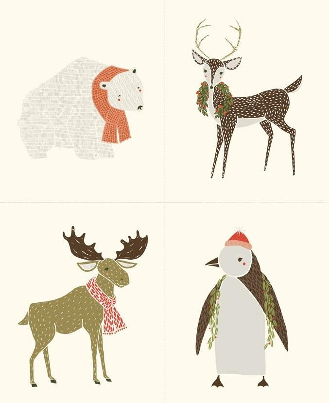 Merrily Winter Critter Panel Snow
