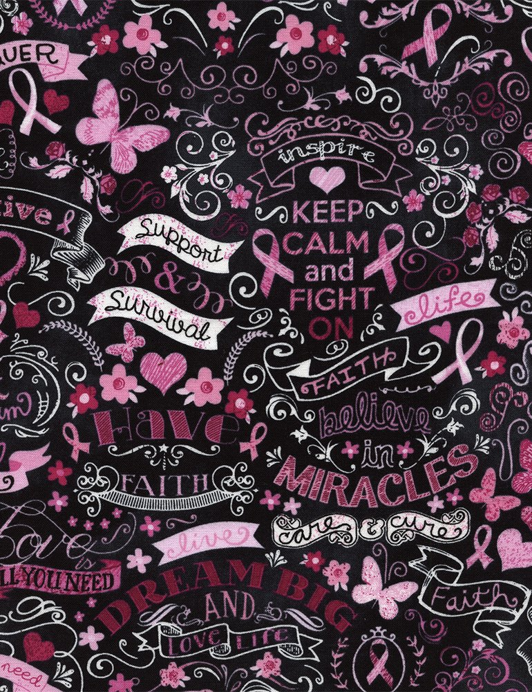 Cancer Awareness Pink Ribbons on Chalkboard