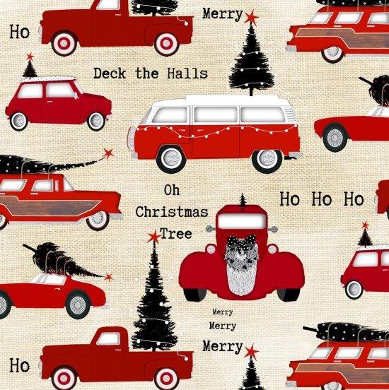 Around Town Christmas Cars Allover Cream