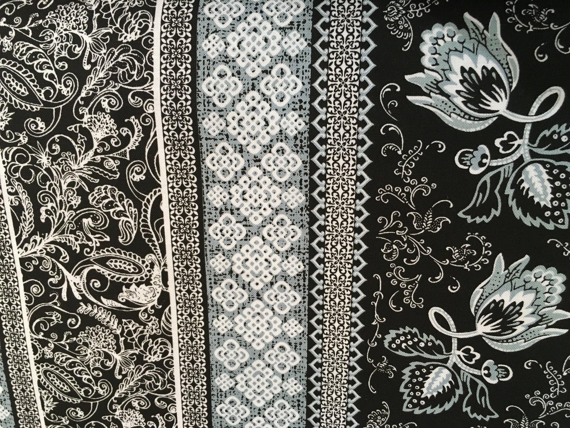 Marseille Black and white border fabric
