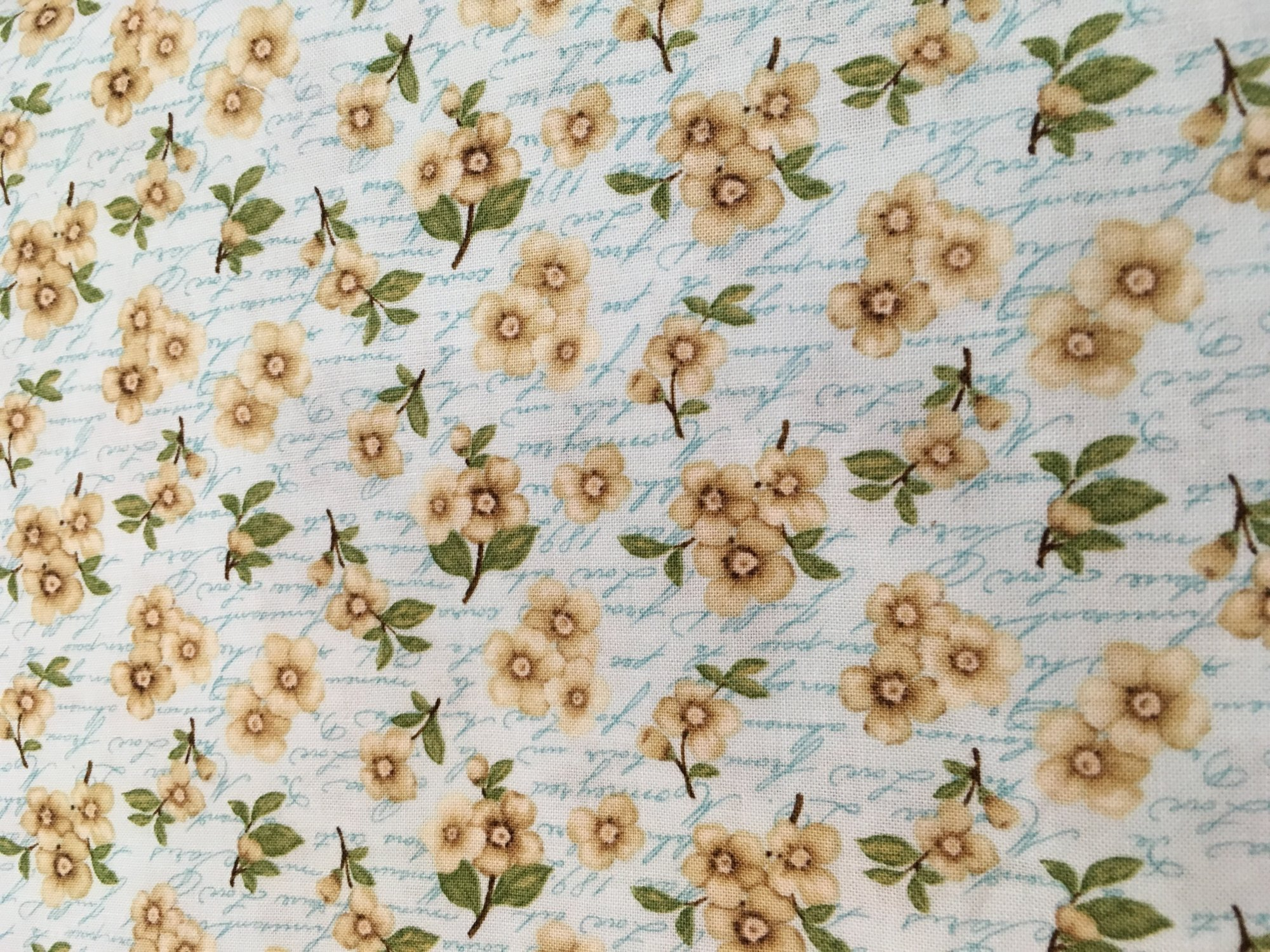 Cherry Blossom Love Blue w/tan flowers