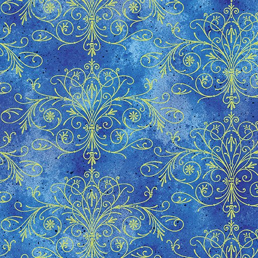 Floral Impressions Washed Tonal Filigree Royal/Gold