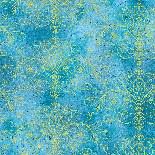 Floral Impressions Washed Tonal Filigree Turquoise/Gold