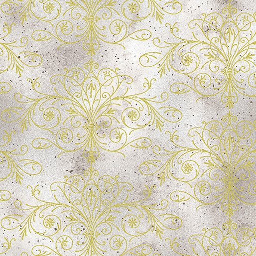 Floral Impressions Washed Tonal Filigree Light Gray/Gold
