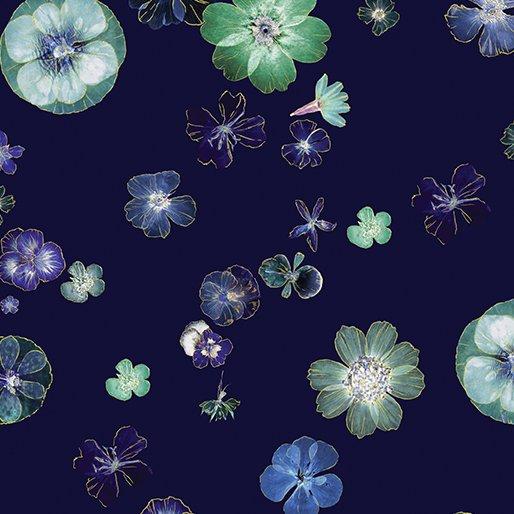 Floral Impressions Pressed Flower Navy