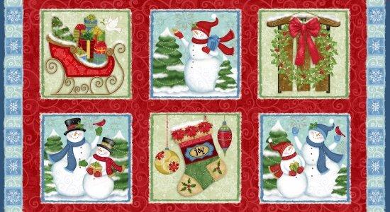 Winter Joy Panel 24 Boxes Red