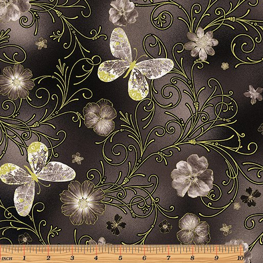 Floral Impressions Pressed Butterfly Floral Dark Gray