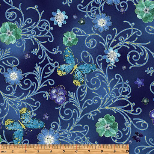 Floral Impressions Pressed Butterfly Floral Turquoise