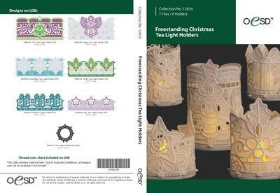 12654CD OESD-Freestanding Christmas Tea Light Holders CD EMB Pattern