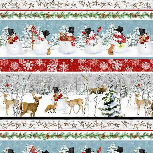 1906 Blue/Red Novelty Stripe Snowmen & Animals