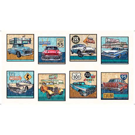 Motorin' Vintage Cars Picture Patch Panel 26351-E  Quilting Treasures