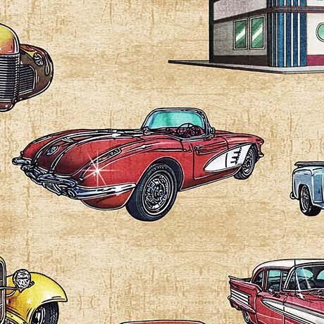 Motorin' Vintage Cars 26352-S  Quilting Treasures