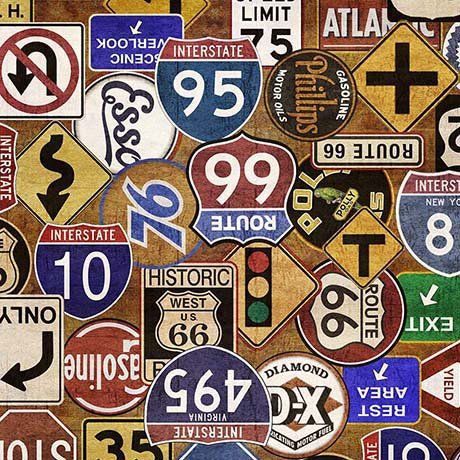 Motorin' Road Signs 26354-S  Quilting Treasures