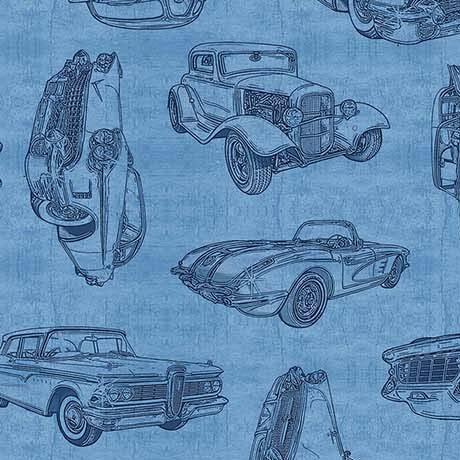 Motorin' Vintage Car Sketches 26355-B Quilting Treasures