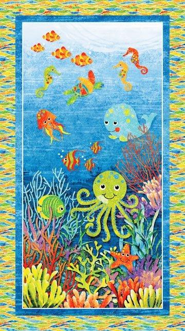 3D Underseas Adventure Panel 39406 44 Blue Northcott