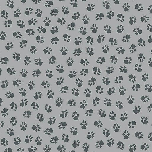 1909 Dog On It  Paw Prints Med Grey   Benartex