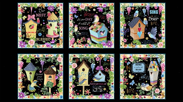 BLESSED BIRDHOUSE PICTURE PATCHES 24901 -J  Panel Quilting Treasures