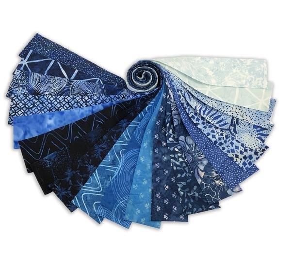 Batik Bali Poppy #647 Blue Bonnet 2 1/2 x 43/44 Strips  Hoffman