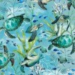 Timeless Treasures C7955 Blue Sea Turtles