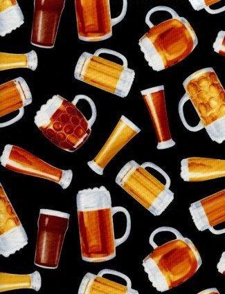 1806 Beer Mugs on Black  Timeless Treasures
