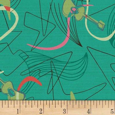 Hoffman Barkcloth A Little Retro Vibe Flamingo Aqua