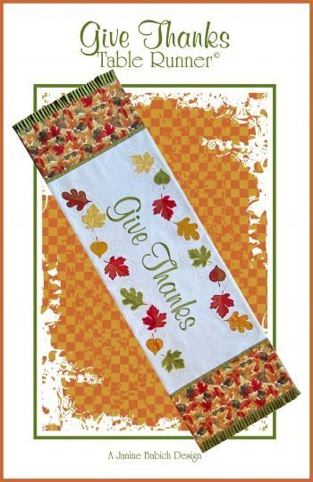 GIVE THANKS  TABLE RUNNER Pattern & CD