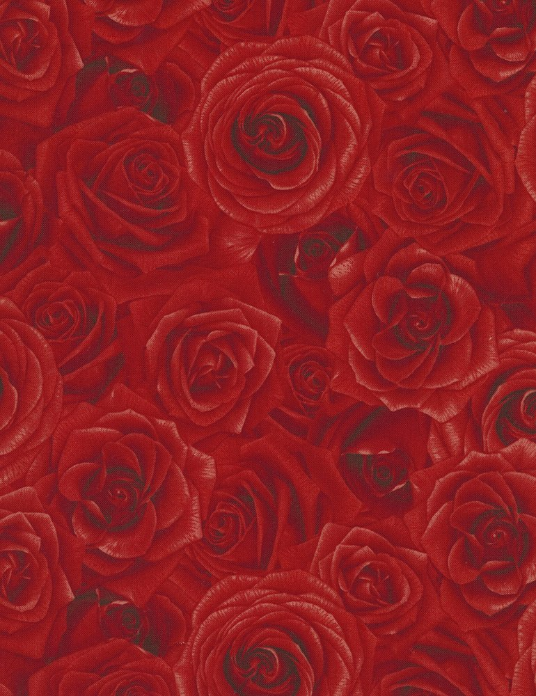 Packed Roses Glamour-C5046-Red Timeless Treasures