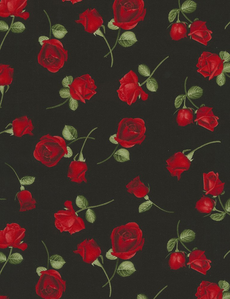 Tossed Rose Buds Glamour-C5048-Black Timeless Treasures