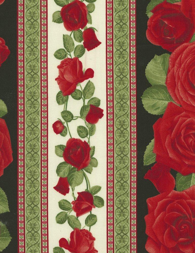 Rose Stripe 11 Glamour-C5050-Black Timeless Treasures