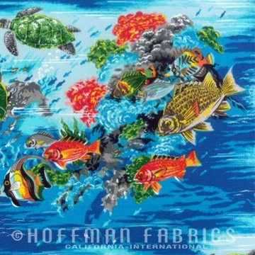 Fish H3142 41 Aqua  Hoffman Fabrics