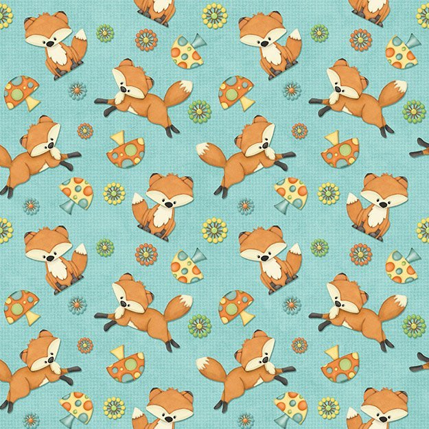 Hoot Hoot Hooray by Shelly Comisky for Henry Glass - Foxes in Blue