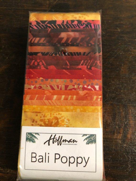 Batik Bali Poppy #347 Lava 2 1/2 x 43/44 Strips  Hoffman