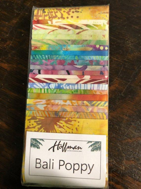 Batik Bali Poppy #525 Groovy 2 1/2 x 43/44 Strips  Hoffman