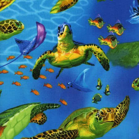 Turtles by Michael Searle  C9986 Blue - Timeless Treasures